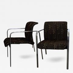 Peter Protzman Mid Century Modern Velvet Chrome Armchairs for Herman Miller - 333625