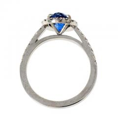 Peter Suchy Peter Suchy 1 77 Carat Oval Sapphire Diamond Halo Gold Engagement Ring - 396214