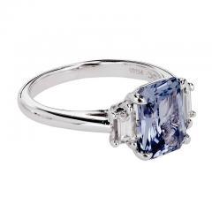 Peter Suchy Peter Suchy 2 56 Carat Sapphire Diamond Platinum Three Stone Engagement Ring - 394521
