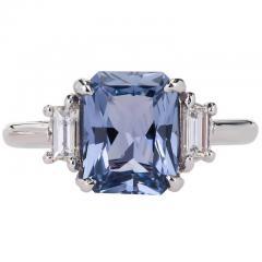 Peter Suchy Peter Suchy 2 56 Carat Sapphire Diamond Platinum Three Stone Engagement Ring - 394523