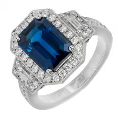 Peter Suchy Peter Suchy 3 88 Carat Sapphire Halo Diamond Platinum Engagement Ring - 408333