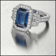Peter Suchy Peter Suchy 3 88 Carat Sapphire Halo Diamond Platinum Engagement Ring - 408337