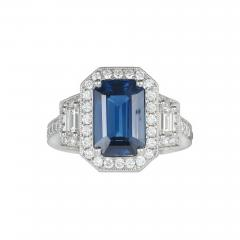 Peter Suchy Peter Suchy 3 88 Carat Sapphire Halo Diamond Platinum Engagement Ring - 725577