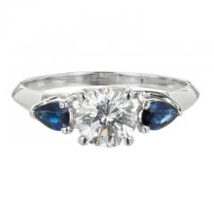 Peter Suchy Peter Suchy GIA Certified Round Diamond Pear Sapphire Platinum Engagement Ring - 407622