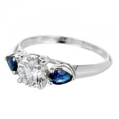 Peter Suchy Peter Suchy GIA Certified Round Diamond Pear Sapphire Platinum Engagement Ring - 407624