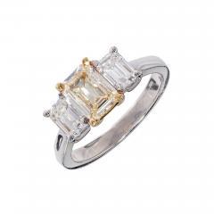 Peter Suchy Peter Suchy Yellow White Diamond Gold Platinum Three Stone Engagement Ring - 301074