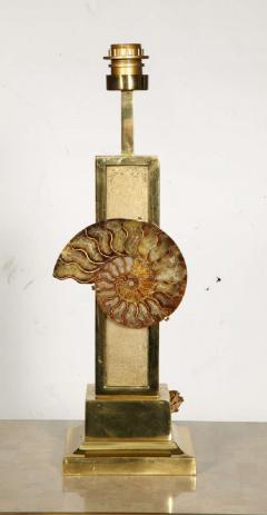Peter Van Heeck 1970s bronze lamp with ammonite by Peter Van Heeck - 729978