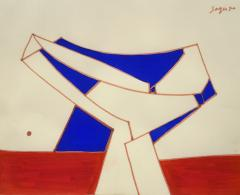 Peter Winchell Sager Abstract Construction in Red and Blue - 1274737