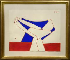 Peter Winchell Sager Abstract Construction in Red and Blue - 1274738