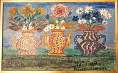 Peterson Laurent Still Life Three Vases with Flowers Haitian Folk Art - 1105639
