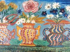 Peterson Laurent Still Life Three Vases with Flowers Haitian Folk Art - 1105640