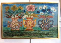 Peterson Laurent Still Life Three Vases with Flowers Haitian Folk Art - 1105643