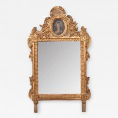 Petite Italian 19th Century Gold Gilt and Painted Mirror - 2052417