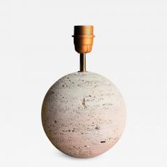 Petite Minimalist Raw Travertine Table Lamp France 1970s - 1237356
