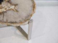 Petrified Wood Side Table on Steel Stand - 1263320