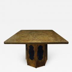 Philip Kelvin LaVerne Philip Kelvin LaVerne Square Etruscan Round Game Table 1970s - 694540