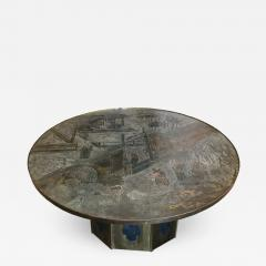 Philip Kelvin LaVerne Round Etched Bronze Pedestal Coffee Table By Philip  And Kelvin LaVerne   540418