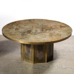 Philip and Kelvin LaVerne Mid Century Philip Kelvin LaVerne Acid Etched Bronze Pewter Chan Coffee Table - 2005004