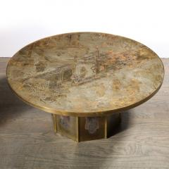 Philip and Kelvin LaVerne Mid Century Philip Kelvin LaVerne Acid Etched Bronze Pewter Chan Coffee Table - 2005006