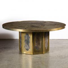 Philip and Kelvin LaVerne Mid Century Philip Kelvin LaVerne Acid Etched Bronze Pewter Chan Coffee Table - 2005029