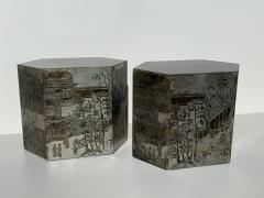 Philip and Kelvin LaVerne Pair LaVerne Side End Tables in Etched Bronze - 1218230