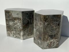 Philip and Kelvin LaVerne Pair LaVerne Side End Tables in Etched Bronze - 1218232