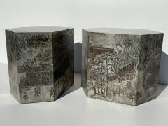 Philip and Kelvin LaVerne Pair LaVerne Side End Tables in Etched Bronze - 1218233