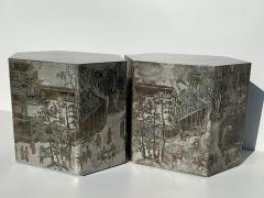 Philip and Kelvin LaVerne Pair LaVerne Side End Tables in Etched Bronze - 1218234