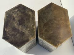 Philip and Kelvin LaVerne Pair LaVerne Side End Tables in Etched Bronze - 1218235