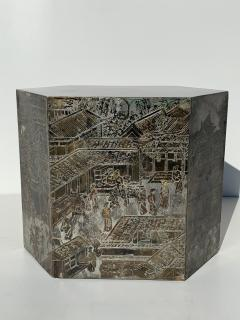 Philip and Kelvin LaVerne Pair LaVerne Side End Tables in Etched Bronze - 1218236