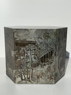 Philip and Kelvin LaVerne Pair LaVerne Side End Tables in Etched Bronze - 1218237