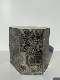 Philip and Kelvin LaVerne Pair LaVerne Side End Tables in Etched Bronze - 1218239