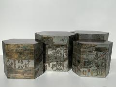 Philip and Kelvin LaVerne Pair LaVerne Side End Tables in Etched Bronze - 1218241