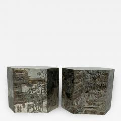 Philip and Kelvin LaVerne Pair LaVerne Side End Tables in Etched Bronze - 1218627