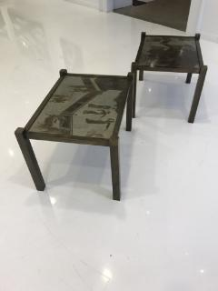 Philip and Kelvin LaVerne Pair of acid etched and patinated bronze Tao side tables - 955298