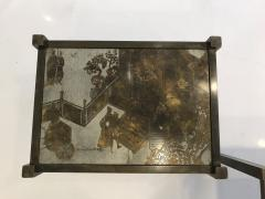 Philip and Kelvin LaVerne Pair of acid etched and patinated bronze Tao side tables - 955299