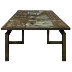 Philip and Kelvin LaVerne Philip Kelvin LaVerne Large Chin Ying Coffee Table 1960s signed  - 1123292