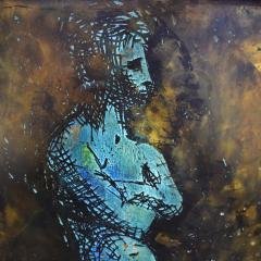 Philip and Kelvin LaVerne Philip Kelvin LaVerne Man In Contemplation Wall Sculpture 1960s Signed  - 1829858
