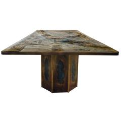 Philip and Kelvin LaVerne Philip Kelvin LaVerne Rare Chan Dining Table 1960s signed  - 1922109