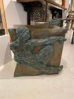 Philip and Kelvin LaVerne Rare pair of bronze side tables Creation of Man by Philipp and Kelvin LaVerne - 1387354