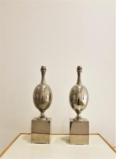 Philippe Barbier Pair of Nickel Plated Brass Table Lamps by Philippe Barbier France 1970s - 1262478
