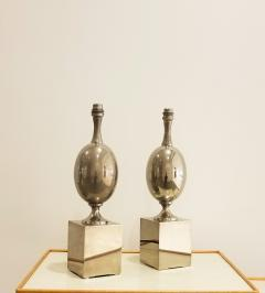 Philippe Barbier Pair of Nickel Plated Brass Table Lamps by Philippe Barbier France 1970s - 1262479