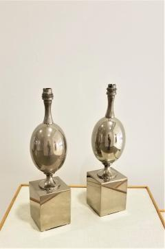 Philippe Barbier Pair of Nickel Plated Brass Table Lamps by Philippe Barbier France 1970s - 1262480