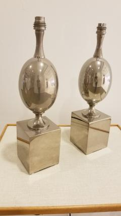 Philippe Barbier Pair of Nickel Plated Brass Table Lamps by Philippe Barbier France 1970s - 1262481