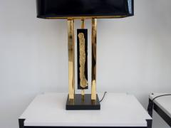 Philippe Cheverny Pair of Philippe Cheverny Gold Table Lamps with Black Shades - 1625683