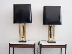 Philippe Cheverny Pair of Philippe Cheverny Gold Table Lamps with Black Shades - 1625684
