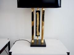 Philippe Cheverny Pair of Philippe Cheverny Gold Table Lamps with Black Shades - 1625685