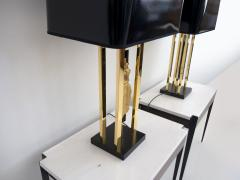 Philippe Cheverny Pair of Philippe Cheverny Gold Table Lamps with Black Shades - 1625687