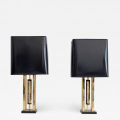 Philippe Cheverny Pair of Philippe Cheverny Gold Table Lamps with Black Shades - 1627552