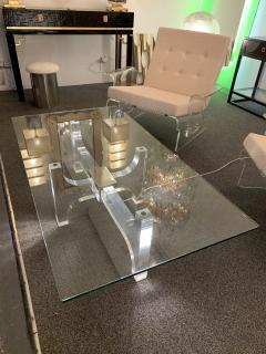 Philippe Jean Lightning Lucite and Metal Coffee Table by Philippe Jean France 1970s - 1190454